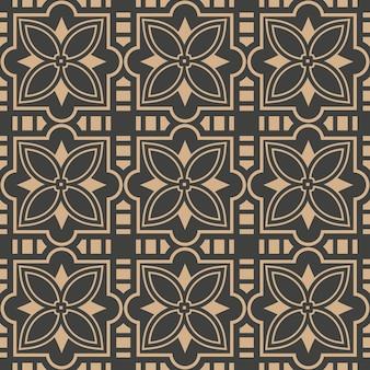 Damasco seamless pattern retrò curva di sfondo geometria trasversale cornice linea fiore caleidoscopio.