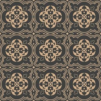 Damasco seamless pattern retrò sfondo curva croce foglia fiore cornice caleidoscopio.