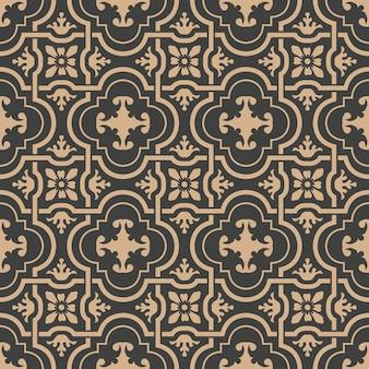 Damasco seamless pattern retrò sfondo curva spirale croce telaio catena fiore.