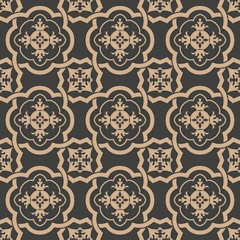 Damasco seamless pattern retrò sfondo curva a spirale croce telaio catena foglia fiore.