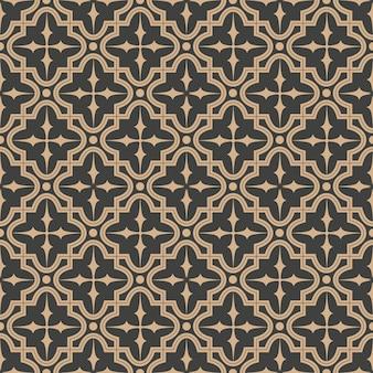 Damasco seamless pattern retrò sfondo curva stella croce telaio linea caleidoscopio.