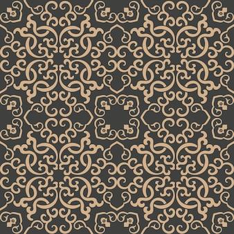 Damasco seamless pattern retrò sfondo orientale curva a spirale croce telaio vite a catena.