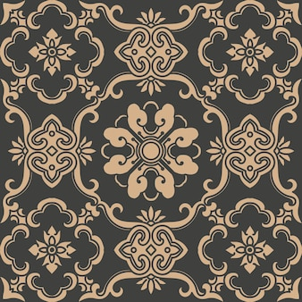 Damasco seamless pattern retrò sfondo orientale curva a spirale croce telaio foglia vite catena di fiori.
