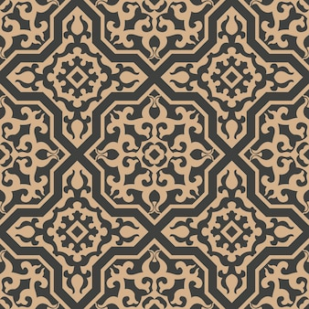 Damasco seamless pattern retrò sfondo poligono geometria telaio trasversale curva a spirale croce pianta cresta.