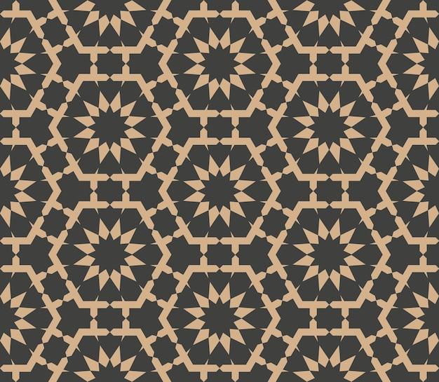 Damasco seamless pattern retrò sfondo geometria poligono stella croce fiore telaio caleidoscopio.