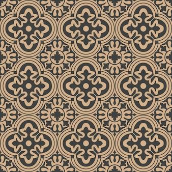 Damasco seamless pattern retrò sfondo curva rotonda croce telaio caleidoscopio di fiori.