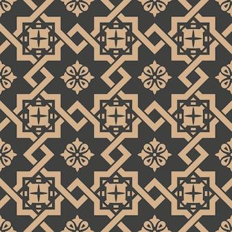 Damasco senza soluzione di continuità retrò sfondo modello spirale di controllo croce telaio catena fiore.