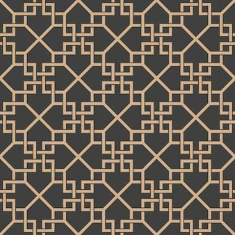 Damasco senza soluzione di continuità retrò sfondo modello spirale croce di controllo telaio linea di catena.