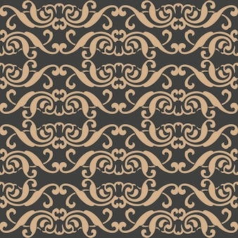 Damasco seamless pattern retrò sfondo curva a spirale croce cornice aborigena vite cresta.