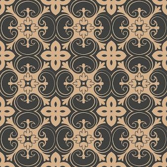 Damasco seamless pattern retrò sfondo curva a spirale croce giardino botanico foglia vite caleidoscopio di fiori.