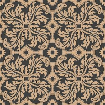 Damasco seamless pattern retrò sfondo curva a spirale croce piuma foglia fiore.