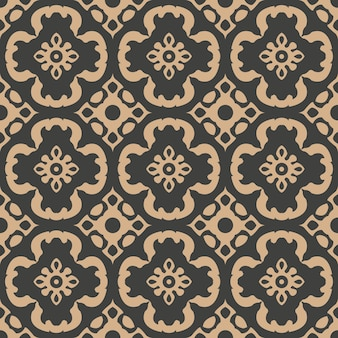 Damasco seamless pattern retrò sfondo curva a spirale croce fiore caleidoscopio.