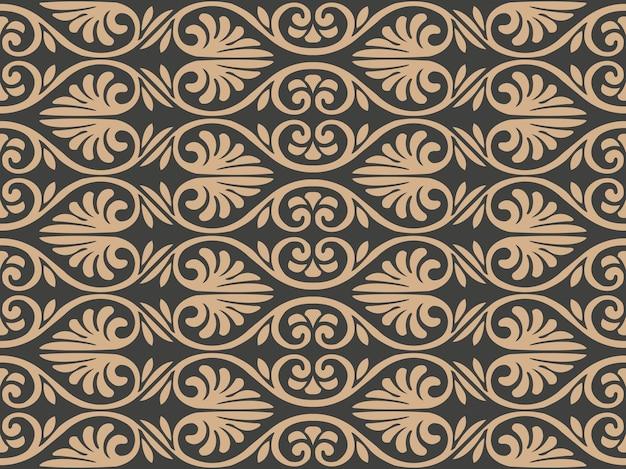 Damasco seamless pattern retrò sfondo curva a spirale croce cornice foglia cresta.
