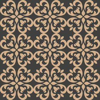 Damasco seamless pattern retrò sfondo curva a spirale croce foglia fiore caleidoscopio.