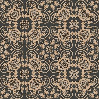 Damasco seamless pattern retrò sfondo curva a spirale croce cornice orientale foglia di vite a catena fiore.
