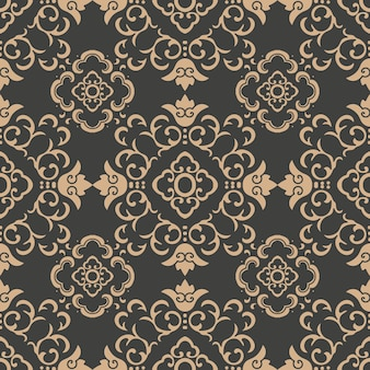Damasco seamless pattern retrò sfondo curva a spirale croce cornice orientale fiore vite catena.