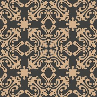 Damasco seamless pattern retrò sfondo curva a spirale pianta croce fiore di vite caleidoscopio.