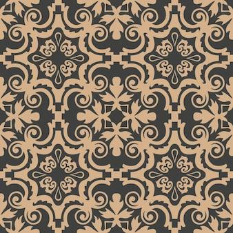 Damasco seamless pattern retrò sfondo spirale vortice croce cornice foglia fiore di vite.