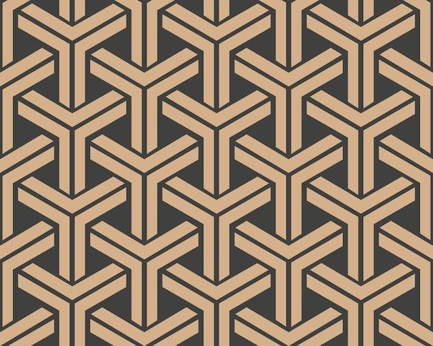 Damasco senza giunture modello retrò sfondo triangolo geometria catena telaio trasversale.
