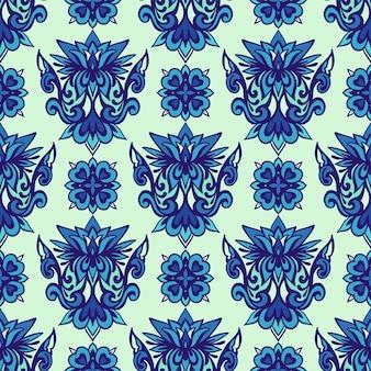 Modello senza cuciture vintage damascato da ornamenti di piastrelle orientali blu e bianche