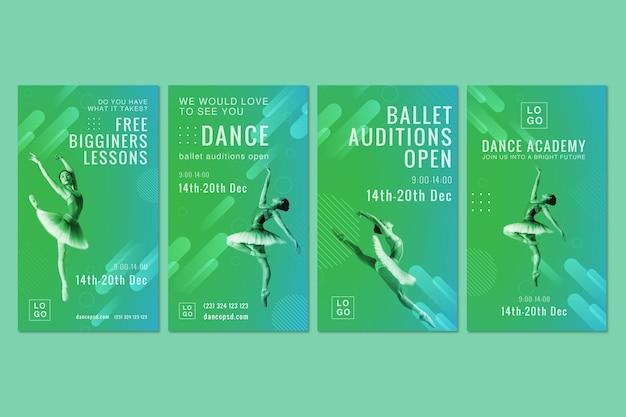 Storie di instagram dell'accademia di danza Vettore Premium