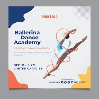 Modello di volantino quadrato dell'accademia di danza