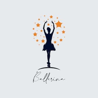 Modello di logo di balletto di danza