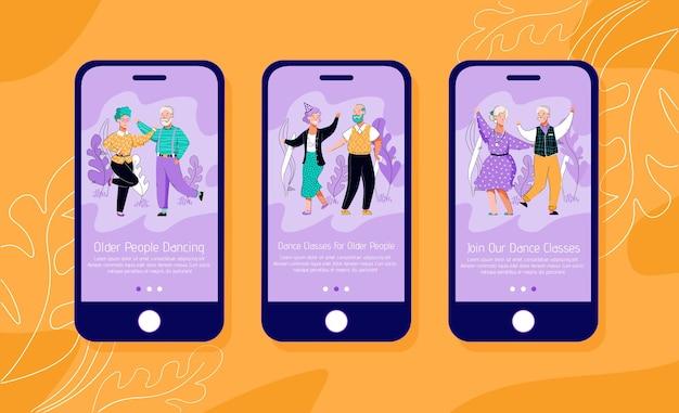 Lezioni di ballo per anziani interfaccia mobile