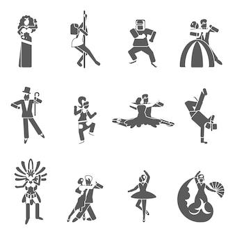 Set di icone di danza Vettore Premium