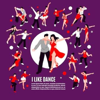 Composizione di persone isometriche di danza