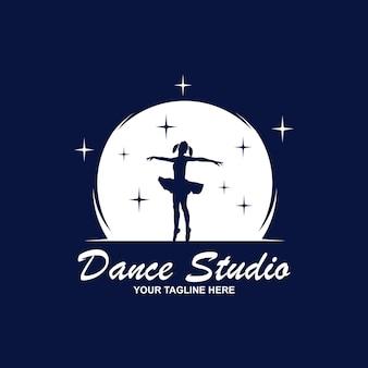 Progettazione del logo dello studio di danza. marchio di forma del corpo di vettore. concetto di icona di danza.