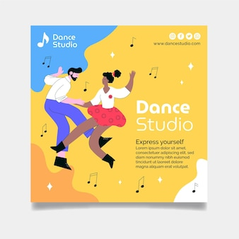 Modello di volantino quadrato di studio di danza