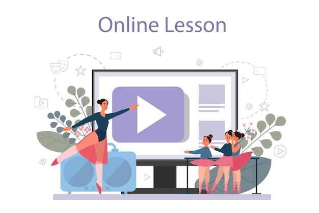 Insegnante di danza o coreografo nel servizio o piattaforma online di studio di danza. corsi di ballo per bambini e adulti. lezione in linea. illustrazione vettoriale