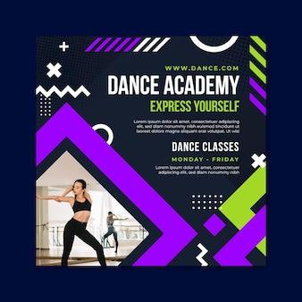 Modello quadrato di volantino dell'accademia di ballo