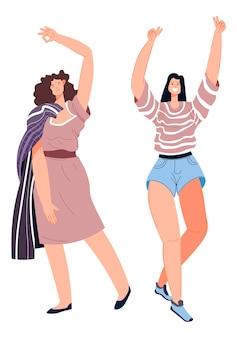 Ballare e ballare donna alzando le mani e sorridendo