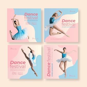 Modello di post instagram festival di danza Vettore Premium