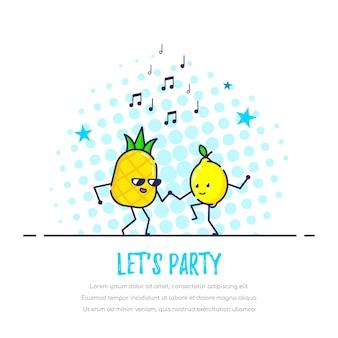Coppia di frutti divertenti danzanti, ananas e limone. consente il concetto di partito