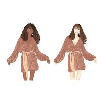 Ragazza che balla in abito marrone