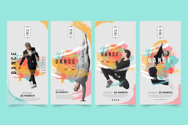 Modello di storie di instagram di lezioni di ballo Vettore Premium