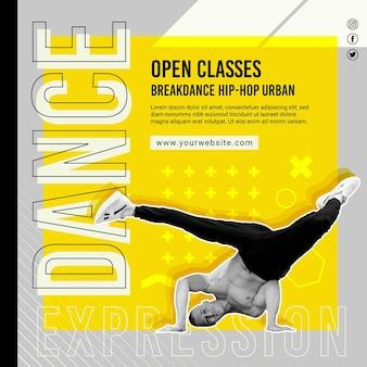 Modello di volantino quadrato di classi aperte danzanti