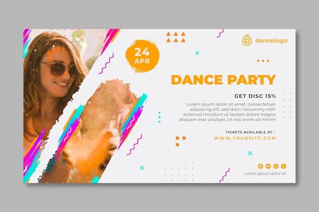 Modello di banner orizzontale festa danzante