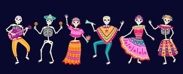 Scheletri danzanti. festa del giorno morto, teschio di zucchero o festa di halloween. festival di musica tradizionale messicana, divertenti personaggi vettoriali di danza brillante. festa dello scheletro dell'illustrazione, celebrazione messicana morta