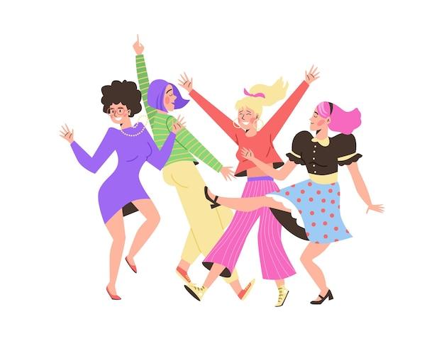 Personaggi di donne danzanti in abbigliamento luminoso piatto illustrazione vettoriale isolato