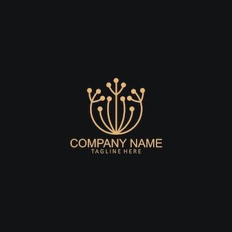 Modello creativo semplice del logo del fiore del dente di leone