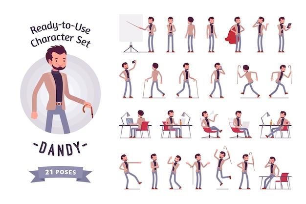 Dandy in un set di caratteri di abbigliamento casual elegante
