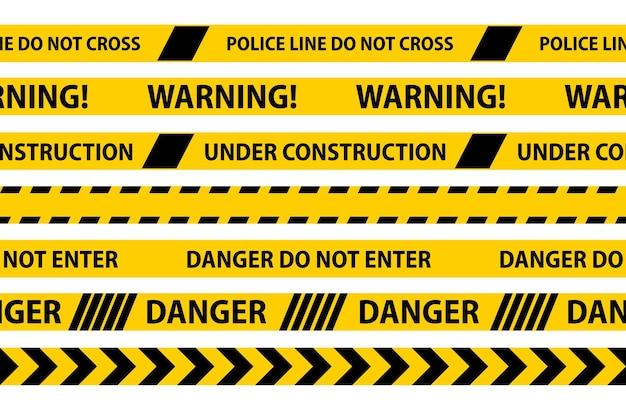 Nastri senza cuciture di pericolo, attenzione e avvertenza. bordo a strisce nere e gialle della polizia. illustrazione vettoriale di criminalità.