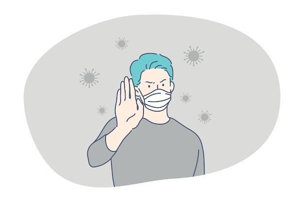 Pericolo o epidemia di infezione da coronavirus, maschera facciale protettiva, concetto di pandemia. giovanotto
