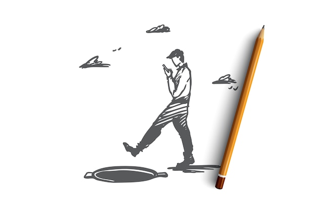 Pericolo, gioco, camminare, portello, concetto di attenzione. uomo disegnato a mano con un gadget e schizzo di concetto di portello aperto.