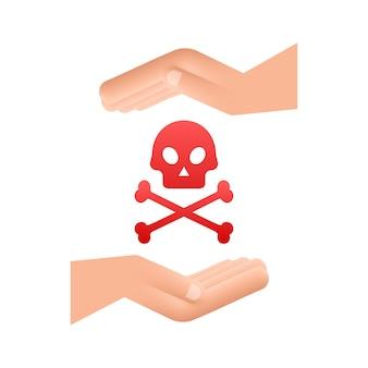 Segnale di pericolo nelle mani su sfondo bianco. illustrazione vettoriale.