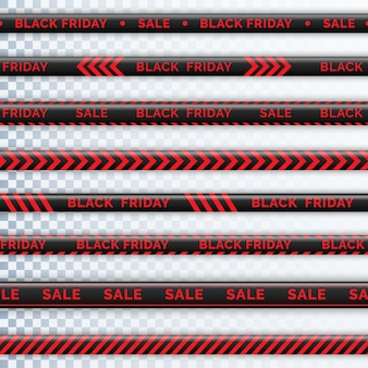 Nastro di pericolo venerdì nero. recinzione del nastro d'avvertimento. strisce diagonali nere e rosse. nastro del venerdì nero con iscrizione di vendita